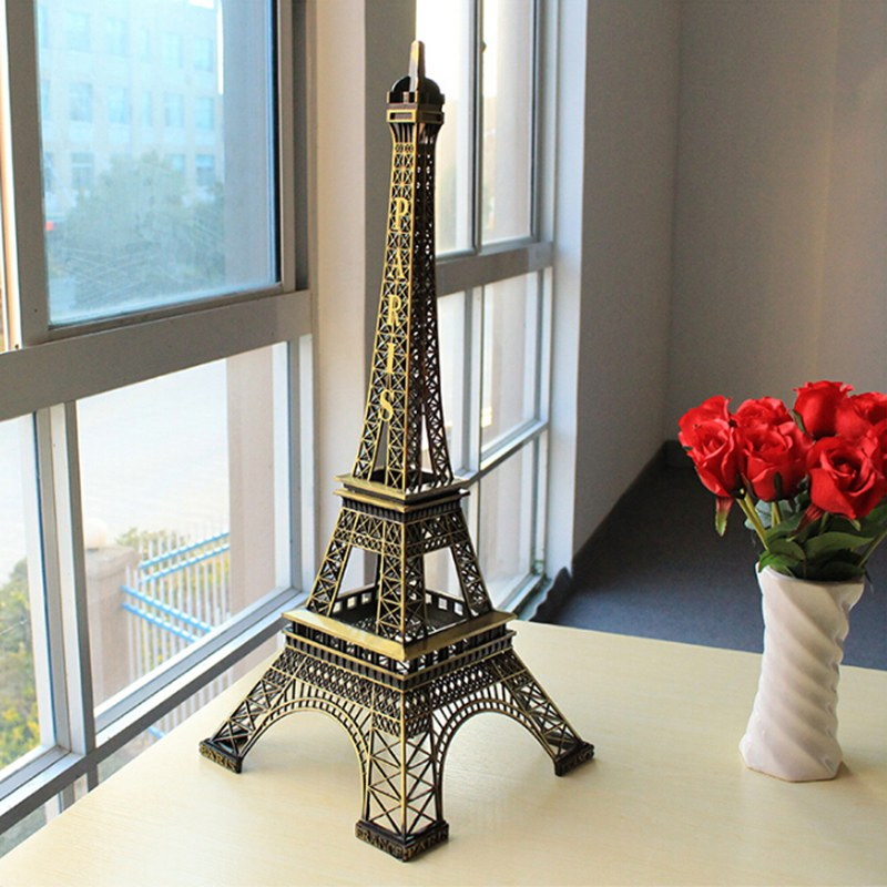 Hot Sale! 1pcs 38cm Bronze Tone Paris Eiffel Tower Figurine Statue Antique Home Decoration Vintage Metal Crafts Model 011030038