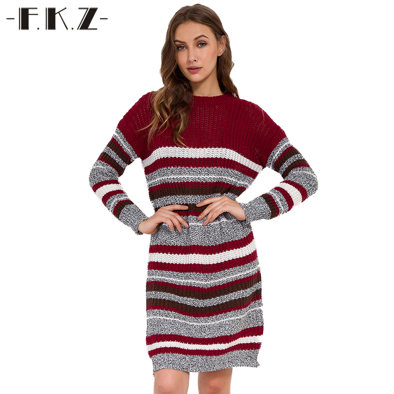 FKZ Casual O-Neck Long Knitted Sweater Dress Women Striped Full Sleeve Loose Dress Pullover Female Autumn Winter Dress 2018 women s casual style round neck half sleeves striped pullover sweater
