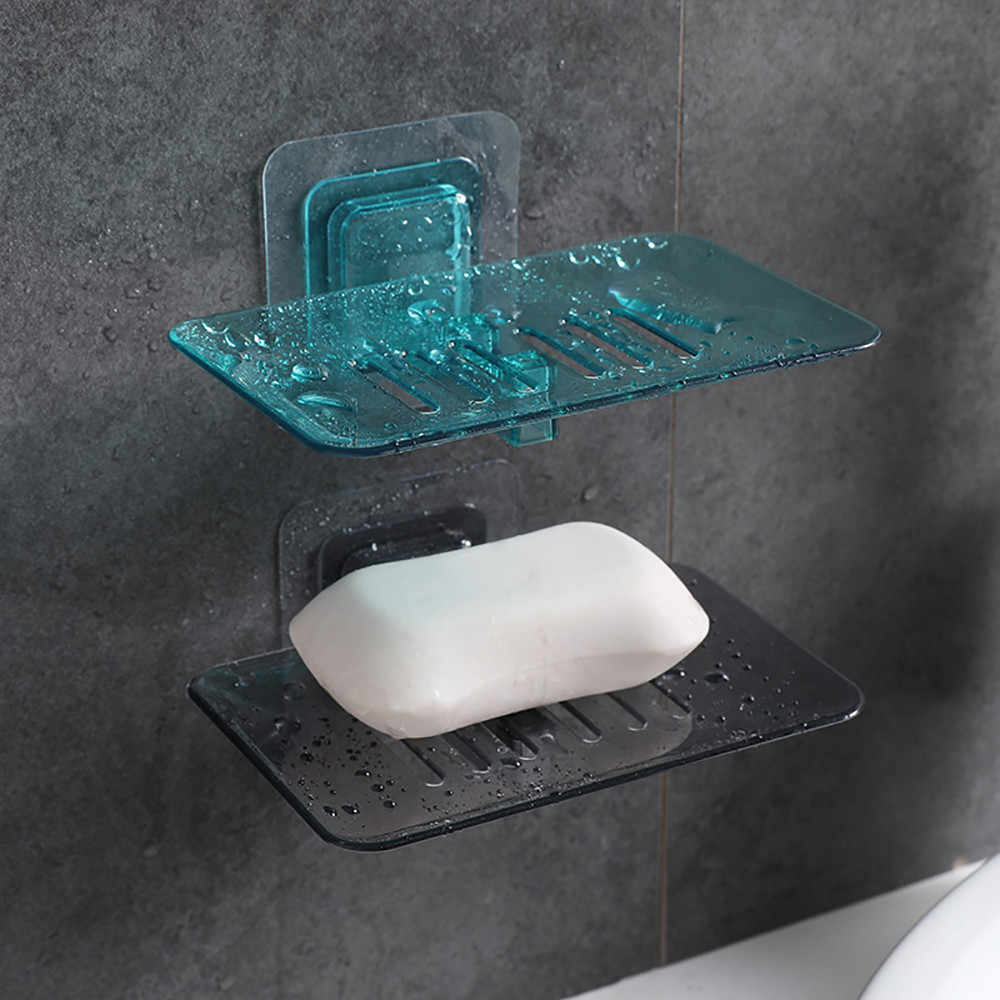 Crystal Soap Storage Racks Powerful Sticky Adhesive Bathroom Shower Soap Box Dish Storage Plate Tray Holder Case Soap Holder