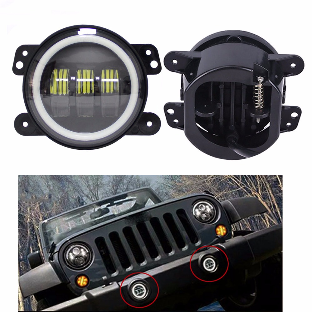 4 Inch 30W Led Fog Lights DRL White Halo Ring Angel Eye Fog Lamps Bulb For Jeep Wrangler 1997-2017 JK TJ LJ Off Road 4 inch 60w led fog lights white drl blue turn signal halo ring for jeep wrangler 97 17 jk tj lj off road fog lamps