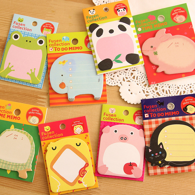 8 Pcs Memo Pad Sticker Post Sticky Notes Creative Stationery Forest Animal Series Cute Paper Notepad Lovely Happy Zoo Cartoon