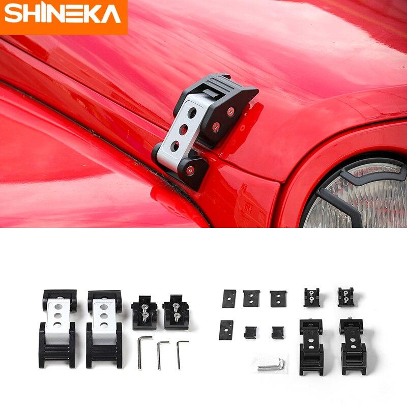 SHINEKA Aluminium Alloy Hood Lock Latch Catch Kit Metal Engine Cover Lock for Jeep Wrangler JK