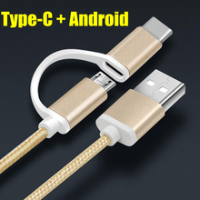 2 in 1 Android micro typec Sycn charge Cable For Samsung 2016 J3 J5 A3 A5 S7 edge Huawei p8 p9 plus lite Quick Charging USB data