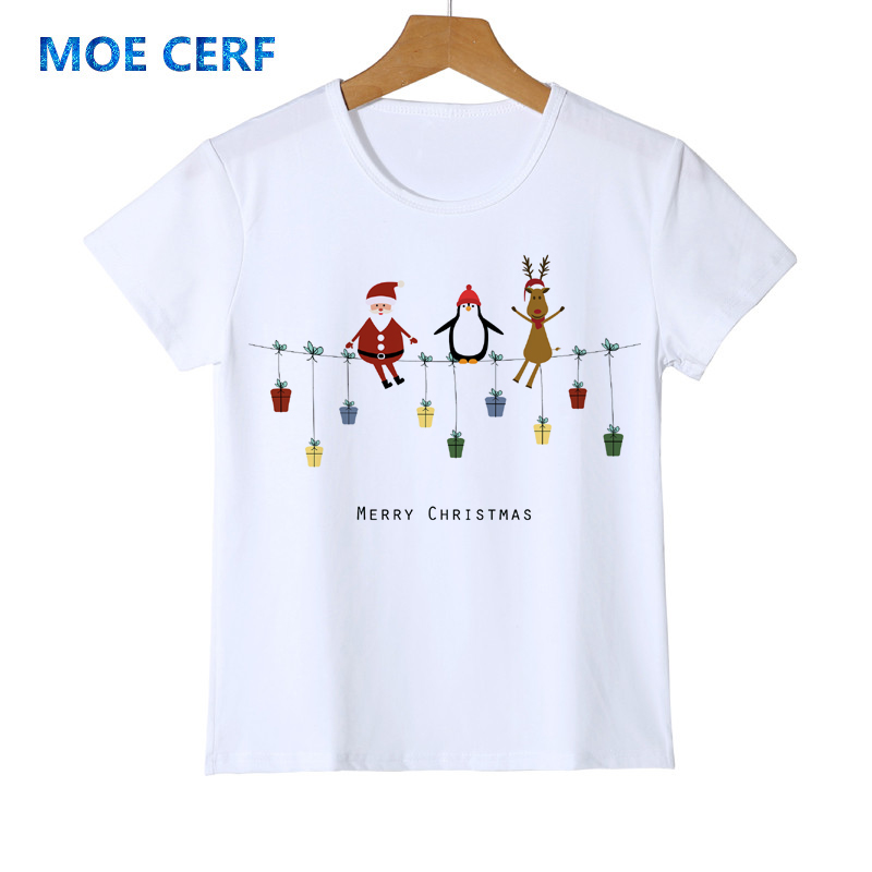New Cartoon Christmas Baby Boys Santa Claus T Shirts Penguin Elk Children Kids Shirt Christmas Costume Gift Girl's Top Tee Y14-7 santa claus mascot costume christmas cosplay mascot costume free shipping