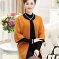 2017 новый плюс размер женская одежда кимоно пончо осень зима твердые среднего возраста женщины тренчи и пиджаки sobretudo Пальто WD754