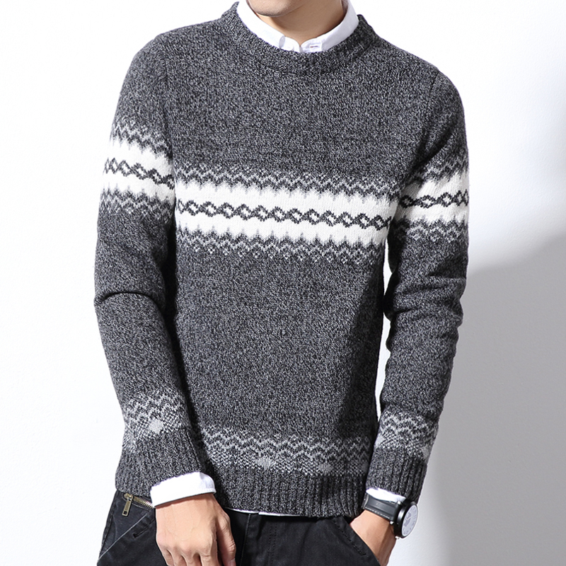 Striped Autumn Winter Christmas Sweater Men Pullover Fashion Brand Mens Jumper Plus Size Mens Sweaters  Jacquard  Thick M-6XL