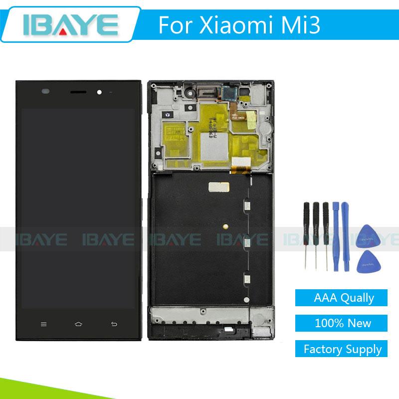 Prix pour Pour Xiaomi 3 Mi3 LCD Affichage Écran Tactile Digitizer Avec Lunette Cadre Remplacement Assemblée