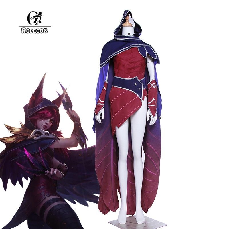 ROLECOS Brand New Arrival Game LOL Cosplay Costumes Xayah Cosplay Costumes Red Dress Hooded Cloak Full Set Lol Xayah Cosplay