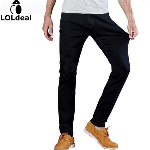 2017 Mens Jeans Black High Stretch Denim Brand Men Jeans Size 30 32 34 35 36