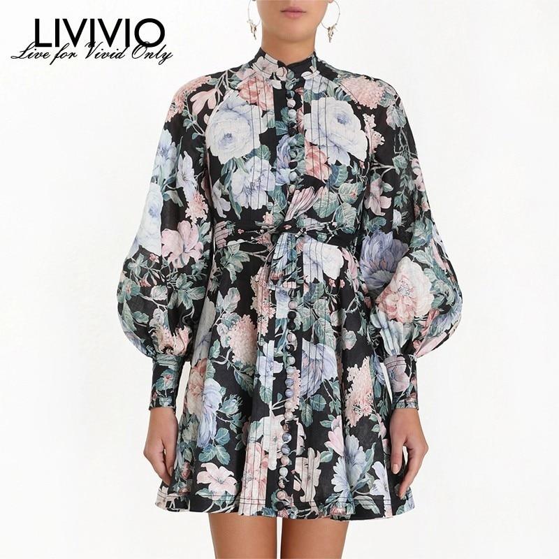 LIVIVIO Floral Print Vintage Mini Dress ZIM 2019 Autumn Women Dresses Sash Waisted Long Lantern