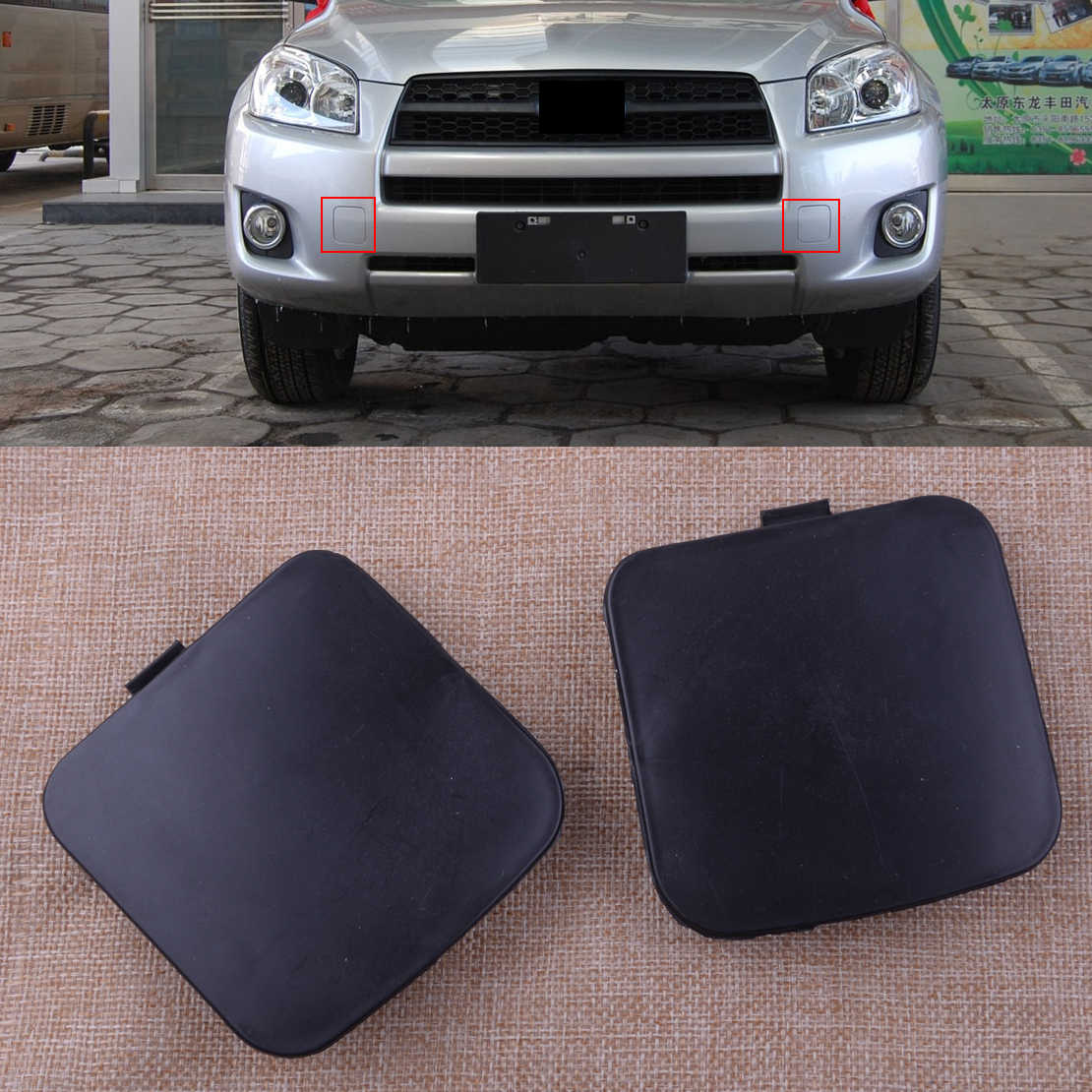 CPP Direct Fit Black Front Right Side Tow Eye Cover for 09-12 Toyota RAV4 TO1029101