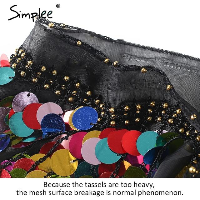 Simplee Black beading summer beach short top tees Backless sash punk crop top women Sexy chain sequin tassel chiffon tube top