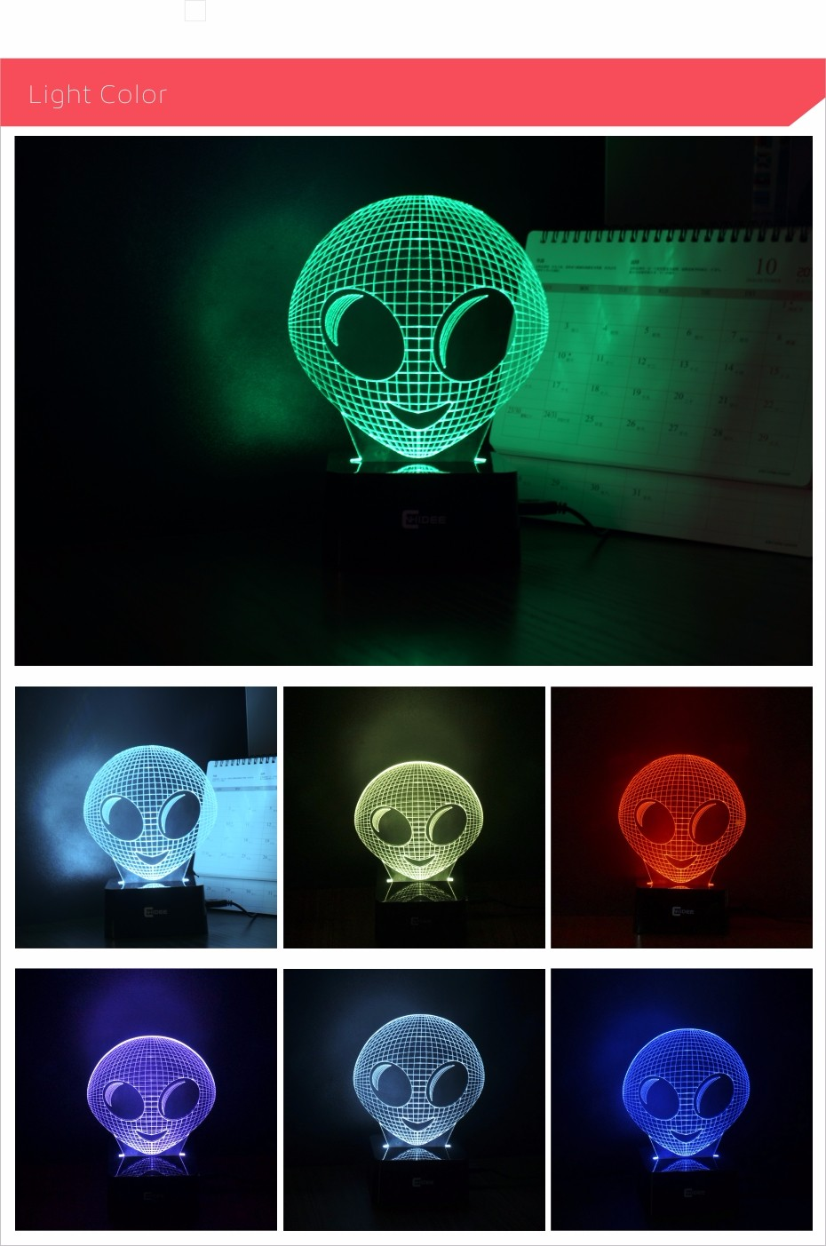 CNHIDEE Alien 7 Colors RGB Lamp 3D Night Light Children Bedroom Sleeping Led Table Lamps USB Besides Lampara as Home Decor (3)