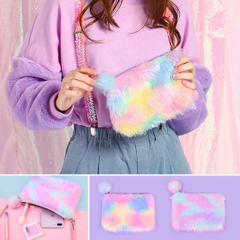 Rainbow Messenger Bags Bentoy Rabbit Embroidery Girls Pompoms Zipper Soft Wallet Sweet Handbags Shoulder Bags For Women 18 New