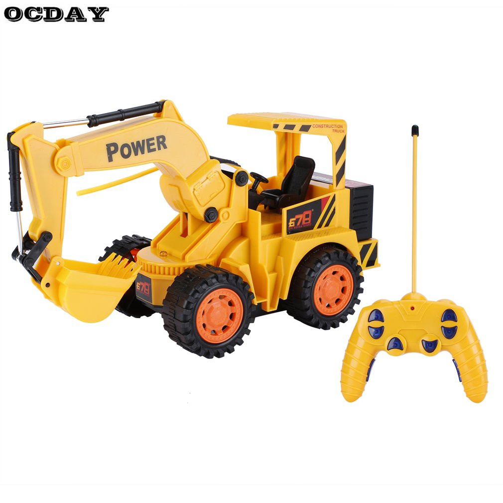 OCDAY 1:10 5 Channel RC Excavator Car Toys for Kids Charging RC Car With Battery Remote Control Model Engineering Vehicle Toy EU