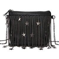 נשים תיק תיקי עור נשיים Messenger Crossbody תיק כתף ציצית באיכות גבוהה כוכבים שרשרת מזדמן שחור רוכסן שקיות מגניבים