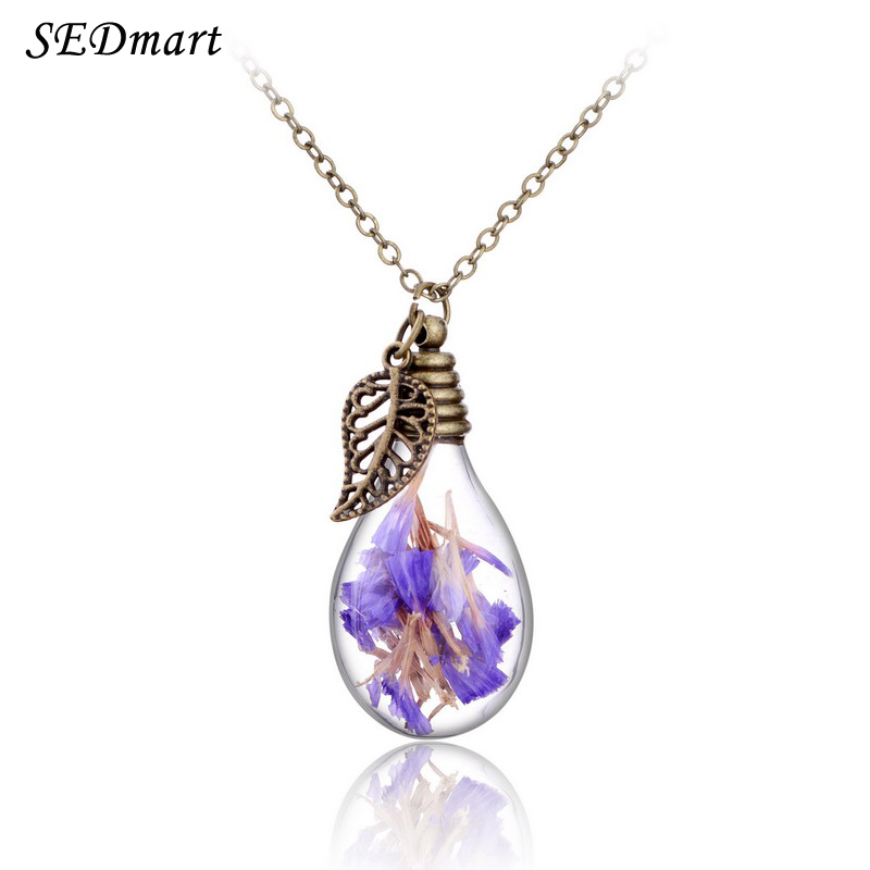 SEDmart Real Dried Forget <font><b>Me</b></font> Not Flower Wishing Bottle <font><b>Lucky</b></font> Pendant Necklace Glass Lamp Shape Leaf Pendants Necklace For Women