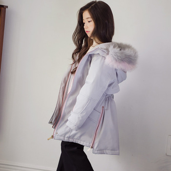New Thickened Kids Winter Jacket Girl Winter Coat Children Parkas Girls Fashion 2018 Toddler Outwear Fur Collar Baby Coat,#3611