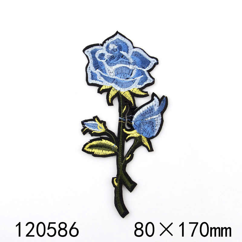 Baru 1 PCS Indah Pureple, biru Bunga DIY handmade Bordir patch Besi Di Kartun Bros Applique Bordir Aksesori