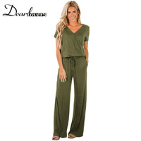 Dear lover Stylish Long Jumpsuits for Women Green Black Summer Overalls Combinaison Casual Playsuits 2018 LC64388