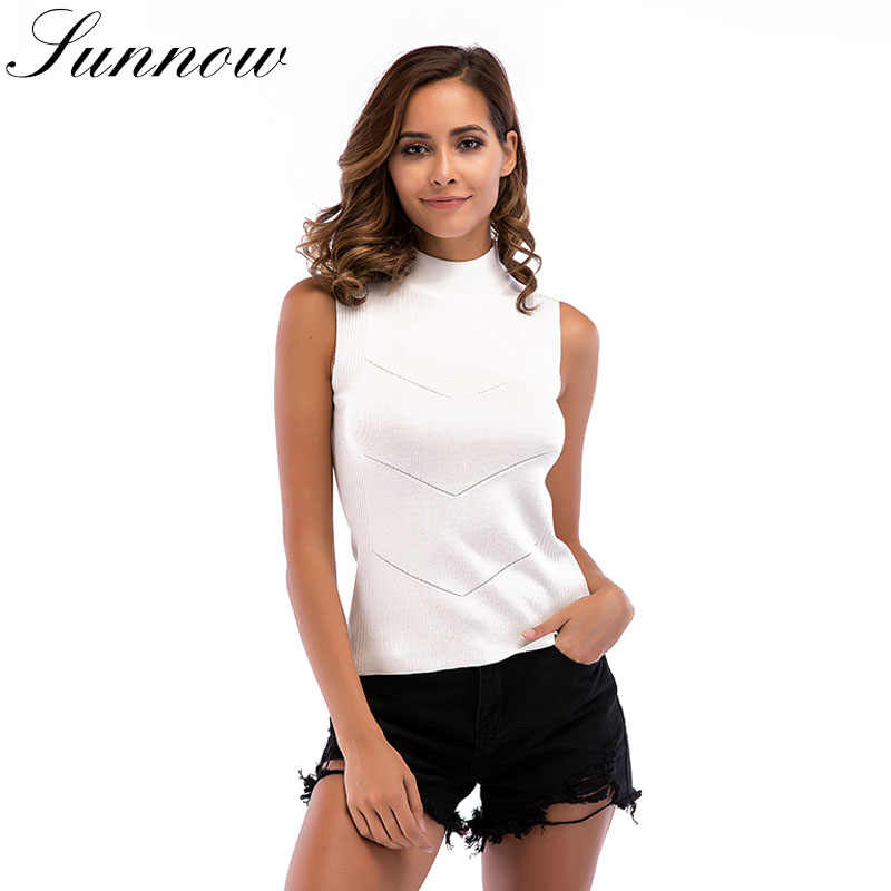 b87cccaf278b4 SUNNOW Spring Summer Knitted Tops Women Sleeveless Slim High Necked Sexy  Tank Ladies Fashion Knitting Top