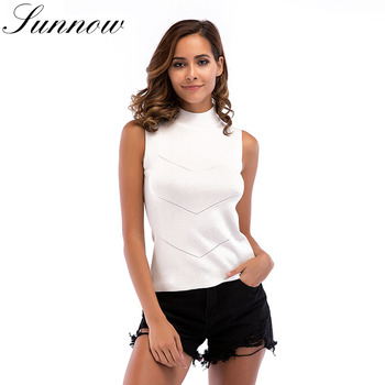 SUNNOW Spring Summer Knitted Tops Women Sleeveless Slim High Necked Sexy Tank Ladies Fashion Knitting Top Vest New 2019 Top