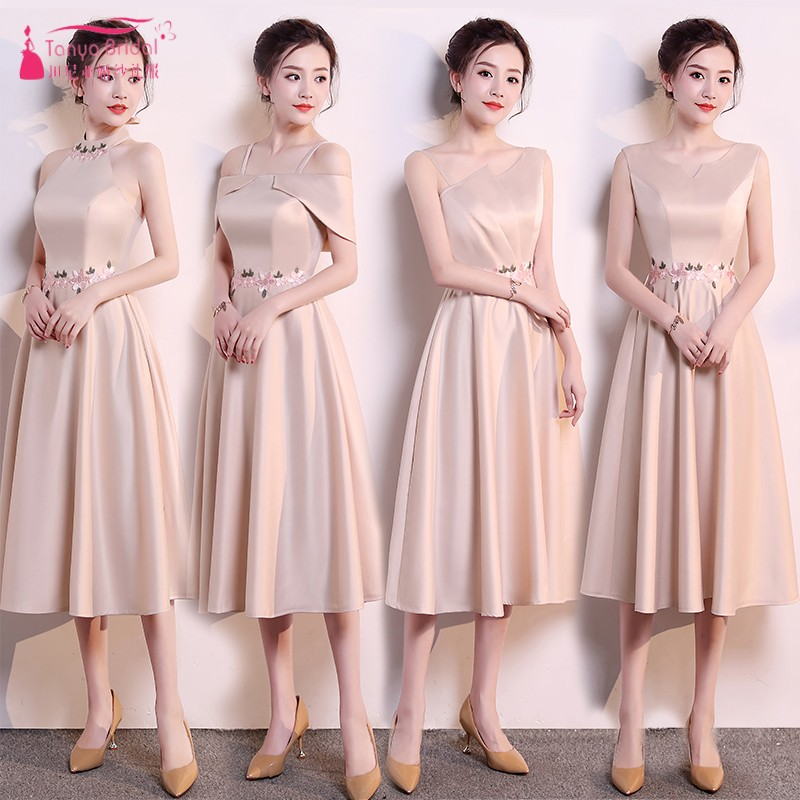 Champagne Knee Length Bridesmaid Dresses Satin Maid Of