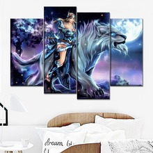 Canvas Painting 4 Pieces The Moon Night DotA 2 Beast And Warrior Mirana Game Poster Wall Art Home Decor Printed Type Picture майка классическая printio dota 2 mirana