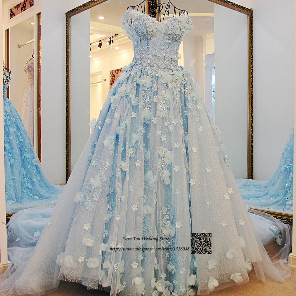 Ivory light blue princess wedding dresses vestidos de for Lace flower wedding dress