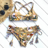 CUPSHE Golden Beach Flora Print Bikini Set Women Triangle Tassel Halter Thong Bikini Swimwear 2020 Girl Bathing Suit Swimsuits