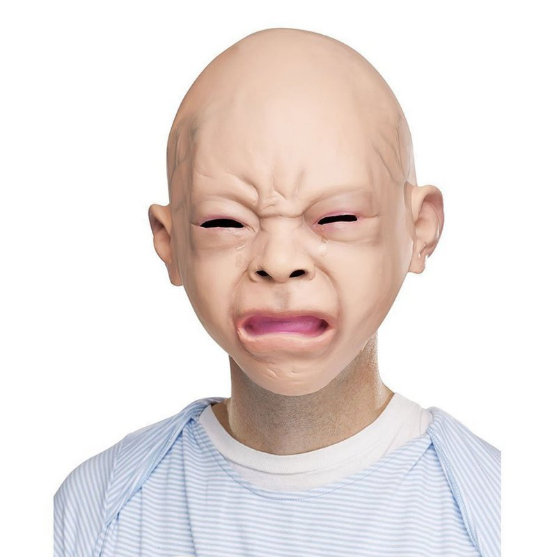 Novelty Latex Rubber Creepy Cry Baby Face Head Mask Halloween Party Costume Decorations ...