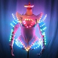 Светодиодный женский костюм воина костюм со светящейся надписью костюмы легкая одежда для женщин Бальные Танцевальные светящиеся платья К