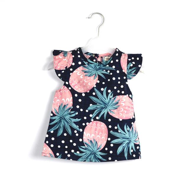 Meninas Blusas & Camisas de Algodão Limão Abacaxi Impressão Babados Blusa Manga Camisas Das Meninas Do Bebê Crianças Crianças de Verão Top