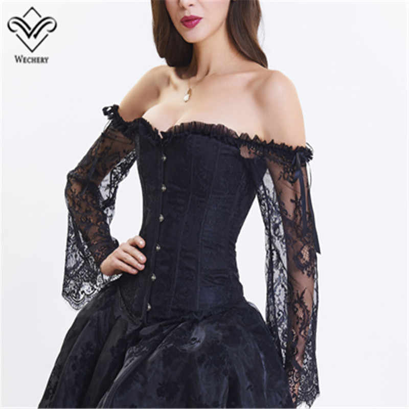 Womens Steampunk Corset with Off Shoulder Victorian Lace Long Sleeves Bustier Top