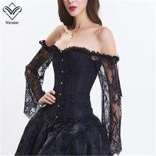 Wechery steampunk espartilho gótico do vintage corpetes e bustiers rendas até mangas compridas fora do ombro sexy corpete corsage corcepet topos
