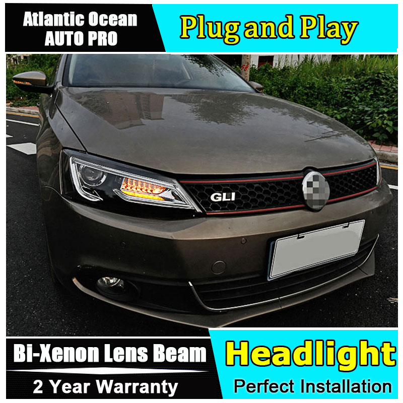car Styling LED Head Lamp for VW Jetta led headlight 2012-2017 for Jetta head lights drl H7 hid Bi-Xenon Lens angel eye low beam auto part style led head lamp for bmw 5 series led headlights for 520li 525li drl h7 hid bi xenon lens angel eye low beam