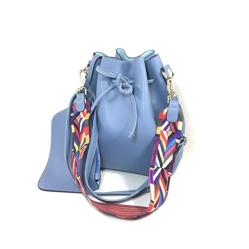 여자 버킷 가방 큰 어깨 가방 pu 가죽 핸드백 패션 다채로운 스트랩 숙녀 Crossbody 가방 bolsos mujer 0453