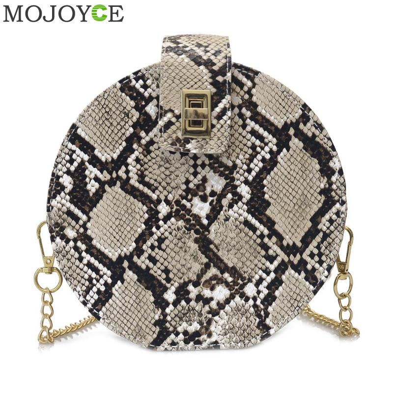 Retro Serpentine Chain Round Bag Women Handbags Printed Small PU Leather Shoulder Crossbody Bags Female Messenger Bag 2019
