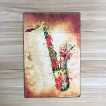 Free shipping Creative sax metal painting , sax Musical Instruments metal sign home wall art decoration,30x20cm