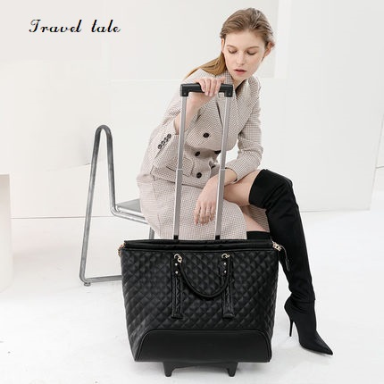 Travel tale high quality fashion 16 inch waterproof PU Rolling Luggage Spinner brand Travel Suitcase handbag