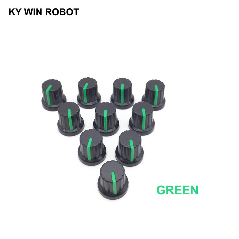 New 10 Pcs Green 6mm Shaft Hole Dia Plastic Threaded Knurled Potentiometer Knobs Caps