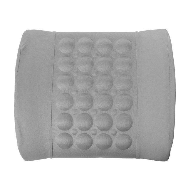 Grey Car Back Lumbar Posture Support Electrical Massage Cushion Pillow 12V