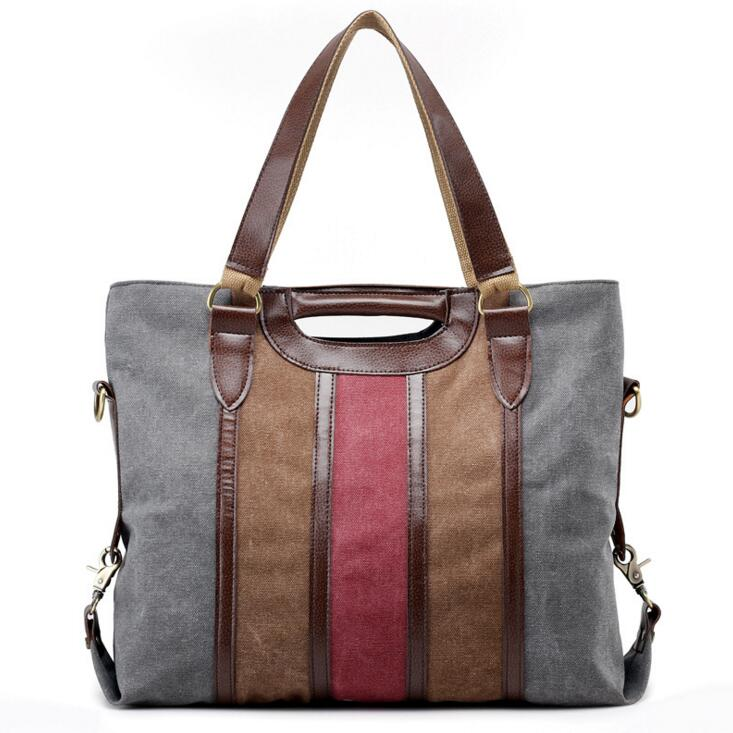 Fashionable stripe color lady canvas bag large capacity casual shoulder bag