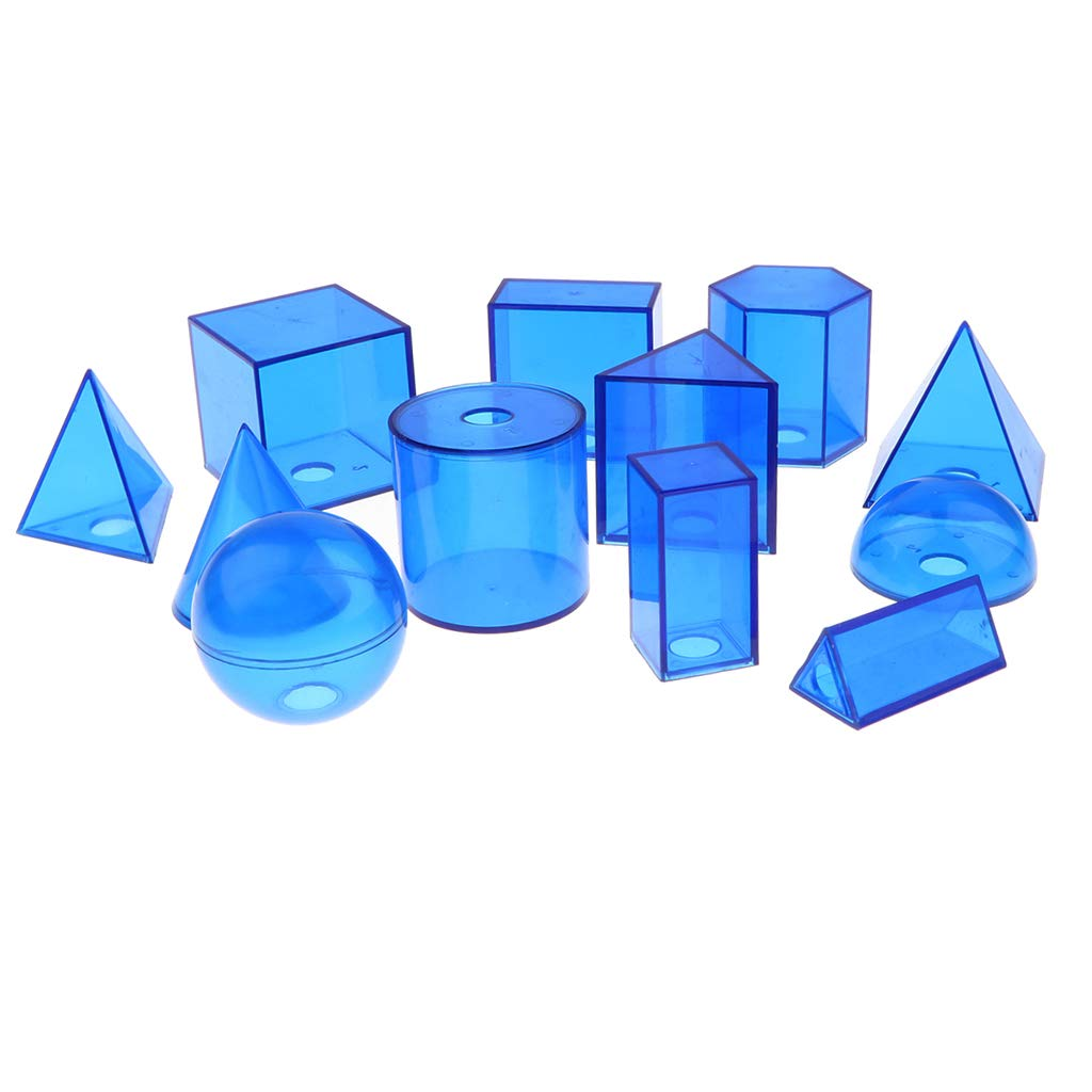 12pcs Geometric Plastic Blocks Mathematics Teaching Aid Math Learning Educational Toys for Children Kids Student
