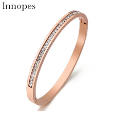 Innopes 2019 Trendy crystal bracelets bangles cubic zirconia stainless steel charm jewelry for women