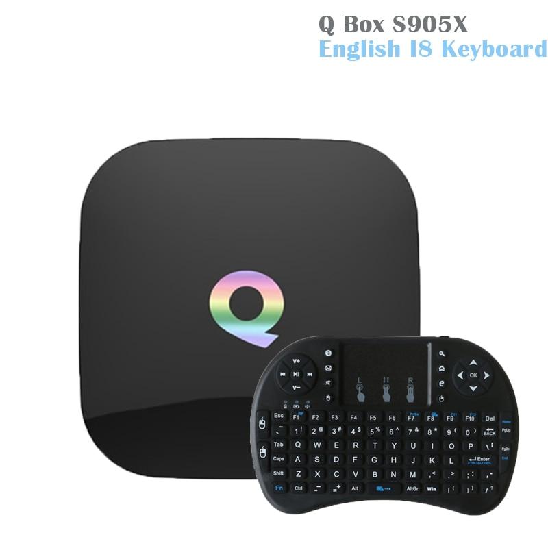 2018 Q Box Android 6.0 Smart TV Box Amlogic S905X Quad Core 2GB/16GB Qbox Dual WIFI BT4.0 SmartMedia Player+i8 Wireless Keyboard