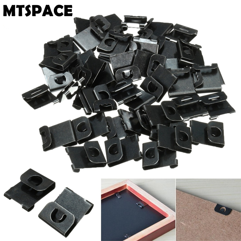 MTSPACE 50pcs/Set Hangers Clips Fix Hanging Hooks For Picture Photo Painting Frames Wall Artwork No-Trace Hanging Wall Nails
