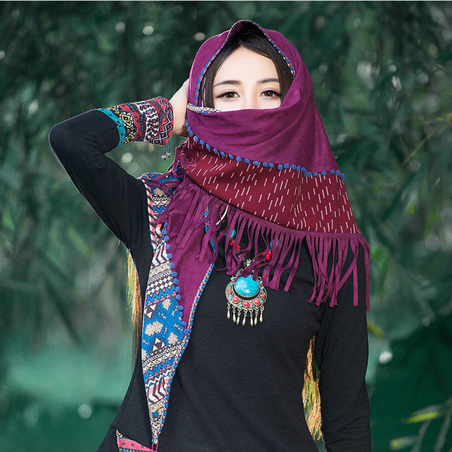 Vintage New Contrast Patchwork Triangle Shawl Autumn And Winter New Women Spring Cotton Tassels Cape