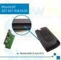 2 Botones Voltear Plegable Remoto Caso de Entrada Sin Llave de Alarma de Coche Clave 433 MHz con la viruta ID46 Lámina va2 para Peugeot 207 307 308 407 607