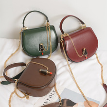 2017 New Lipstick Leather Handbag Gold Chain Lock Women Shoulder Messenger Top Handle Saddle Small Bag Female Purse